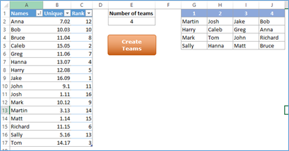 random team generator excel file technology for academics