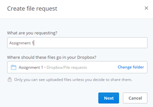 Dropbox File Requests Window
