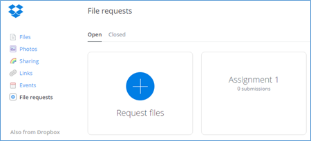 Dropbox screen for managing all of your file requests