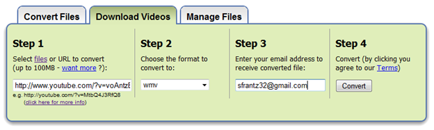 Zamzar download and convert video files technology for academics note powerpoint 2010 can now handle more video file formats than it used to but wmv is still a fine choice in step 3 enter your email address ccuart Images
