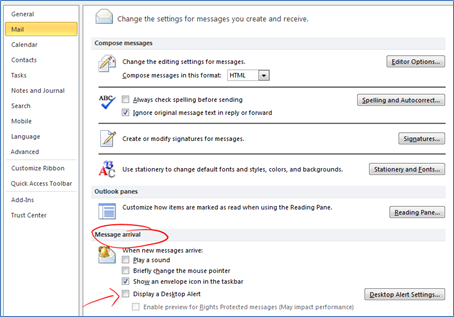 Outlook: Turn Off Notifications \u2013 Technology for Academics
